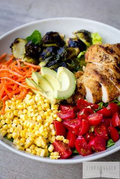 Rainbow Salad with Balsamic Roasted Brussels & Paleo Almond Crusted Chicken