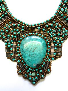 Turquoise Bronze Green beaded bib collar statement by AniDandelion, $290.00