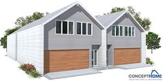 Duplex House in modern contemporary architecture for very narrow lot. Modern House Plan to Modern Family. Town House Floor Plan, Duplex House Plans, Modern House Plans, Garage Dimensions, Townhouse Designs, Backyard Garden Design, Rental Property, Condominium, Contemporary Architecture