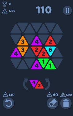 Metrio Triangle Merge Puzzle mobile game combo score design.