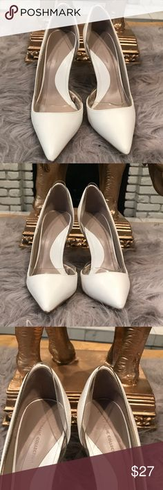"Zara Heels White patent leather heels with lucite detail around perimeter of shoe. Heels measures 4"" Zara Shoes Heels"