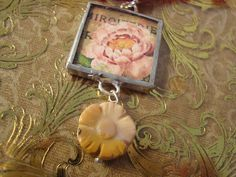 DREAM FLOWER Soldered Glass Pendant by victoriacharlotte on Etsy, $10.00
