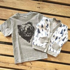 @minisouls bear Boy's graphic bear tee and pine cardigan