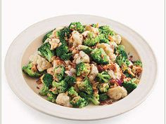 This easy version of broccoli salad features frozen broccoli plus cauliflower and chopped carrot for added color and crispness.