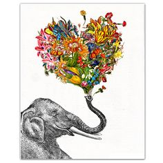 "The Happy Elephant - ART Print 8"" x 10"". $19,00, via Etsy."