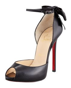 Dos Noeud Back-Bow d\'Orsay Red Sole Pump, Black by Christian Louboutin at Bergdorf Goodman.