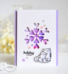 Holiday Hugs card by Kay Miller for Paper Smooches - Lovely Snowflake Die, Holiday Cheer, Comforting Hugs