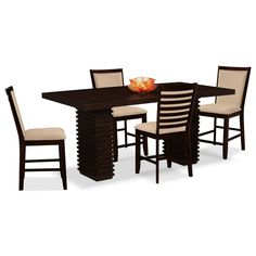 Dining Room Furniture - Paragon 5 Pc. Counter-Height Dinette - Camel