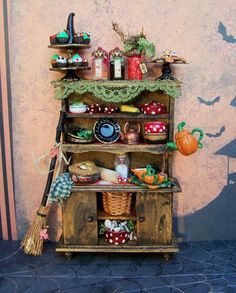 Reserved for please don't buy-Dollhouse Miniature Witch Kitchen Cabinet… Haunted Dollhouse, Dollhouse Miniatures, Sylvanian Families, My Fairy Garden, Fairies Garden, Fairy Garden Furniture, Dream Doll, Witch House, Fairy Garden Accessories