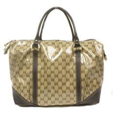 Gucci Brown Leather Crystal Boston Satchel Bag 336669 1