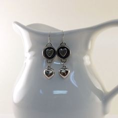 Silver Heart Earrings Antique Silver Wires by CinLynnBoutique, $18.00