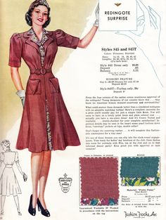 Fashion Frocks c. 1940s day dress red brown