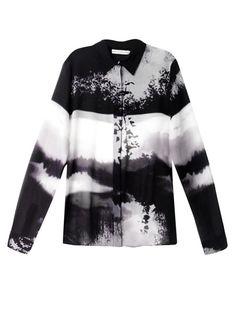 Mary Katrantzou Wood Stick Print Silk Blouse in Multicolor