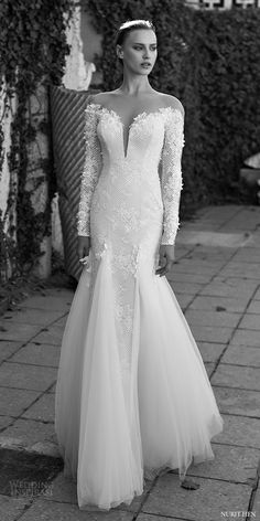 nurit hen 2016 long sleeves illusion off shoulder split sweetheart mermaid wedding dress (lw18) mv elegant