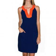 Arden Sheath Dress - Navy Body / Orange Collar