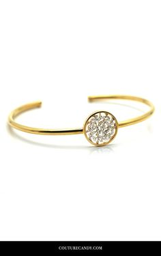 Tresor Collection - Signature Logo Bangle With Diamonds In 18k Yellow Gold | CoutureCandy.com