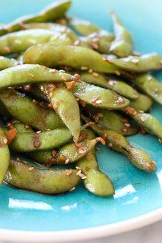 Spicy Garlic Edamame – extremely addicting!