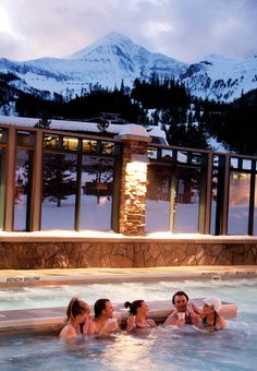 After a long day skiing relax in a large hot tub with a great view of Lone Peak at Big Sky Resort-- one of my favorite places!