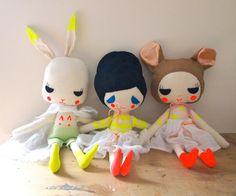 hand painted linen rabbit little bunny door JessQuinnSmallArt