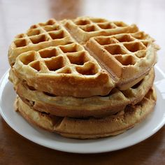 Great vegan waffles -- better than how I remember non-vegan waffles tasting! The cinnamon adds a nice flavour. Calls for 1 cup flour, 3/4 tsp baking powder, pinch of sea salt, 3 tbsp sugar, 1/4 tsp cinnamon, and 1 cup soy milk 2 tbsp vegetable oil