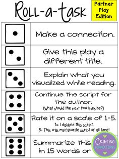 Partner Plays Roll-a-Task FREEBIE activity (includes a response sheet!)