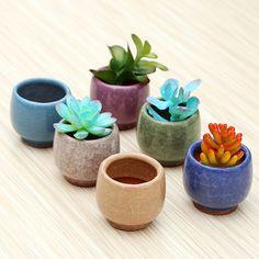 Esmaltado cerámica macetas suculentas / brillante por PandaDIY
