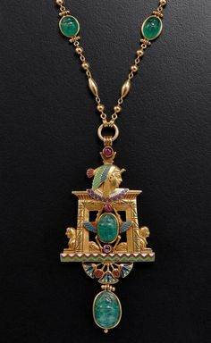 An Art Nouveau pendant with an Egyptian theme, which was created by Jules Wiése in 1875.