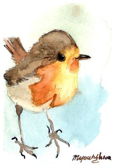 ACEO Limited Edition 9/10Tiny Robin in watercolor by annalee377, $4.00