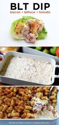 BLT Bacon Lettuce Tomato Dip Recipe. Easy party appetizer!