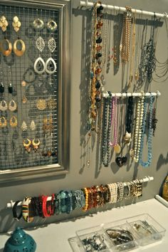 diy jewellery holder ideas - love the rods/poles to hang necklaces idea xx