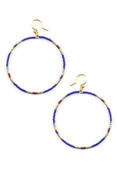 Chan Luu - Royal Blue Mix Hoop Earrings, $55.00 (http://www.chanluu.com/earrings/royal-blue-mix-hoop-earrings/)
