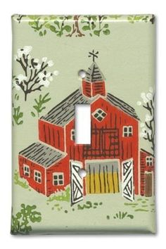 Country Red Barn 1960's Vintage Wallpaper Switch Plate by Fondue, $12.00