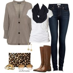 Oversized Cardigan + Boots+ leopard print + infinity scarf= must haves for fall.. :D