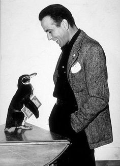 Humphrey Bogart and penguin, circa 1950