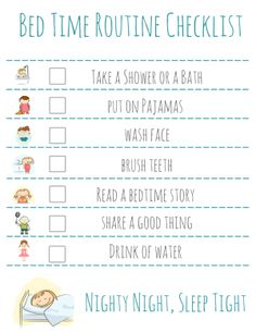 Bed Time Routine Checklist: Free Printable – Bedtime Routine Free Printable Checklist, add in a frame with a dry erase marker to use nightly and keep kids on task, great for back to school. After School Schedule, School Night Routine, School Checklist, Kids Schedule, Night Time Routine, School Routines, Bedtime Routine Chart, Bedtime Routine Printable, Nighty Night