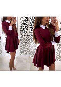 Burgundy Plain Pleated Peter Pan Collar Cute Teens Homcoming Skater Mini Dress