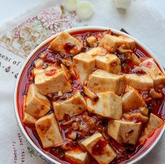 {China}Vegetarian Mapo Tofu with Mushrooms