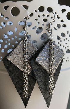 Gorgeous & elegant cowhide & faux leather earrings. This is my lovely mix of different geometrical shapes in different colors. Various colors, patterns, sizes and shapes are available for any fashionista. Each pair of earrings is cut and assembled by my hand. They come with nickel