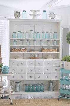 Vintage Mason Jar Collection - Aqua Blue Ball, Boyd, etc at www. - vintage cottage farmhouse style home decorating ideas - apothecary cabinet chalk painted furniture - Source by cottagefox decor blue Vintage Mason Jars, Blue Mason Jars, Rooms Home Decor, Diy Home Decor, Mason Jar Kitchen, Diy Kitchen, Vintage Farmhouse, Farmhouse Style, Farmhouse Font