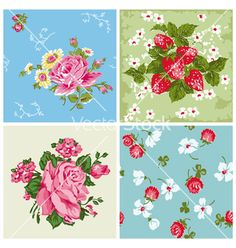 Set of seamless vintage floral backgrounds vector 958259 - by woodhouse84 on VectorStock®