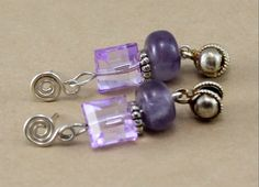Amethyst Earrings wiith Silver Oyster Shell Beads. by BlingbyDonna, $27.00