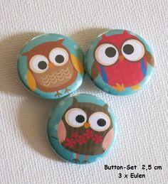 Buttonset Eulen -  3 Stück - 2,5 cm  von ღKreawusel-Designღ auf DaWanda.com