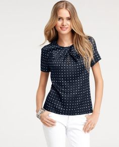 Ann Taylor for Spring.  Navy and White.  Love the pin-tucking at the neckline!