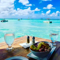 The perfect lunch view at Pelican's Nest at Pelican Pier Aruba!