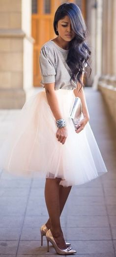#street #style #spring #2016 #inspiration   Grey Top + White Tule Skirt  Walk in Wonderland