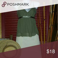Express Design Studio Express Design Studio Top. Olive green sheer layered crop top, ribbon accentuates empire waist. Express Design Studio Tops Camisoles