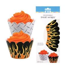 12 WRAPS cupcake WRAPPERS black FLAMES party MOTORCYCLE biker REVERSIBLE vhtf