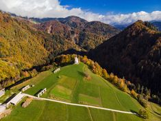 Aerial view of rural church or chapel in Slovenia at autumn Drone Photography, Slovenia, Aerial View, Golf Courses, Autumn, Nature, Image, Fall, Nature Illustration