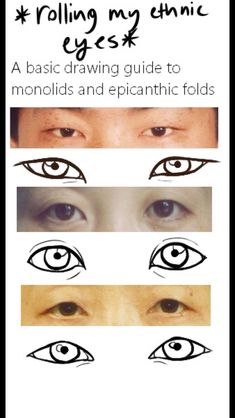 Simplified 'Asian' eyes - three guides of how to draw eyes with epicanthic folds
