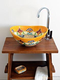 Puebla - MEX 7 mexikanische Aufsatzwaschbecken oval von Mexambiente